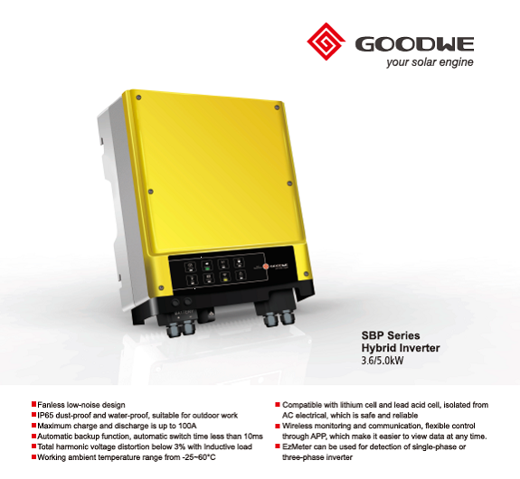 Goodwe SBP  inverter/charger for lithium batteries. Purchase this unit to fit a lithium battery to your existing solar system.